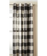 """Courtyard Plaid Woven Curtain Panel with Grommets, Black, 63"""" length, Lo... - $24.99"""