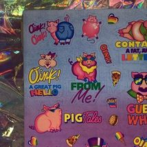 S405 MINT Lisa Frank Sassy Pigs Silly Sender Stickers Fulll Sheets Rare HTF 80s image 5