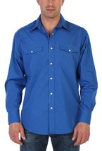 Gioberti Men's Solid Long Sleeve Pearl Snap Button Royal Blue Western Shirt - S image 2