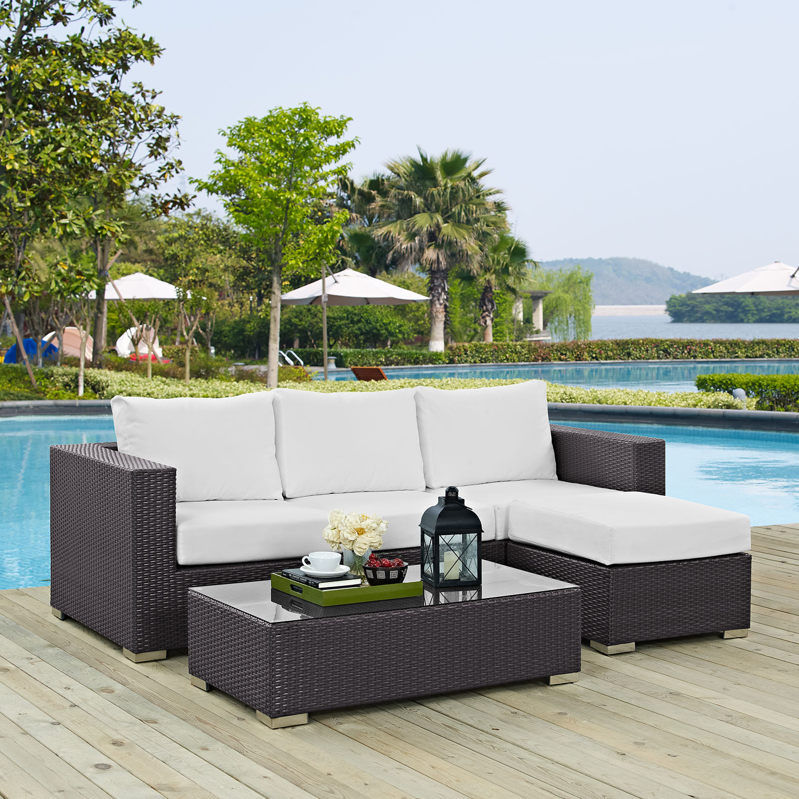 Convene 3 Piece Outdoor Patio Sofa Set Espresso White EEI-2178-EXP-WHI-SET image 3