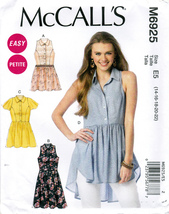 McCall's M6925 Womens Misses Petite Sewing Pattern Tops Tunic Dress Sizes 14-22 - $8.25