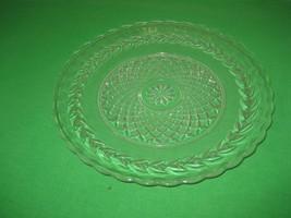 "Clear Glass Embossed Diamond Starburst 10"" Hostess Salad or Dinner Plate - $9.46"