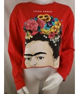 Frida Kahlo T Shirt Womens Sz L Cropped Long Sleeve Red Cotton Crew Isaa... - $19.78