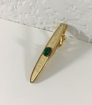 Vintage Swank Gold Toned Green Stone Tie Clip Spring Clip Back - $11.88