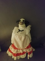 - Ceramic Black & White Cow Doll dressed in Red & White Dress - $5.25