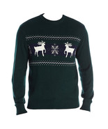 Men's Christmas Sweater Cotton Knit Reindeer Snowflake Dark Green Docker... - £11.01 GBP