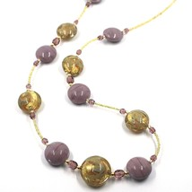 """LONG NECKLACE PURPLE YELLOW MURANO GLASS DISC GOLD LEAF, 70cm, 27.5"""" ITALY MADE image 2"""