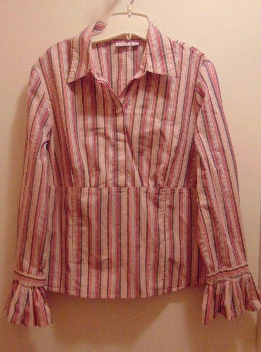 Catos Striped Long Sleeve Blouse Ex Large-Hidden Zipper On Side-Ruffled Sleeve-