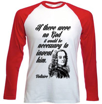 Voltaire God Quote - New Red Long Sleeves Cotton Tshirt - $26.20