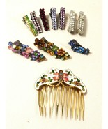 lot of 11 multi color rhinestone hair pins accessories crystal enamel ba... - $27.72