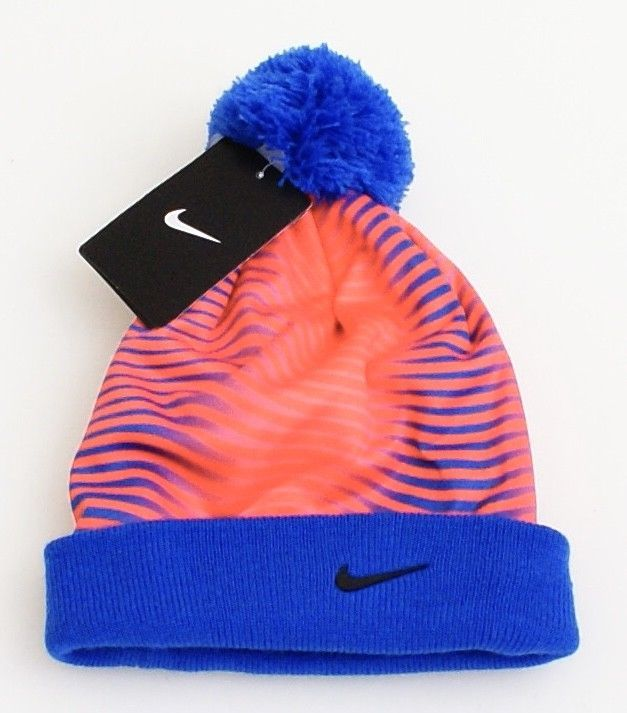 ba93d2891cd 57. 57. Previous. Nike Blue   Crimson Cuff Beanie Skull Cap with Pom Pom  Youth Boy s 4-7. Nike Blue   Crimson Cuff ...