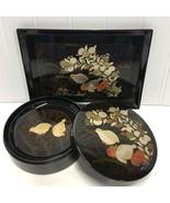 Vintage Otagiri Quail Gold Lacquer Coasters Lidded Box Snack Tray Set of... - $12.55