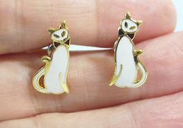 Tiny Little SIAMESE CAT Kitty Pierced Earrings White Enamel Gold Plate E... - $14.84