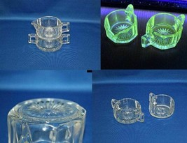 Antique Heisey Glass Colonial Hotel Creamer and Sugar Bowl Set Flat Panel Patter - $57.97