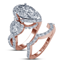 Bridal Engagement Ring Set Pear Shape White CZ 14k Rose Gold Plated 925 Silver - $135.99