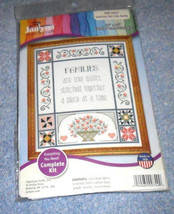 "Families are Like Quilts  Counted Cross Stitch Kit 14"" x 16"" BY Janlynn - $5.79"