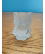 Frosted Glass CAT Kitten Figurine Solid Heavy Goebel Tagged New West Ger... - $21.73