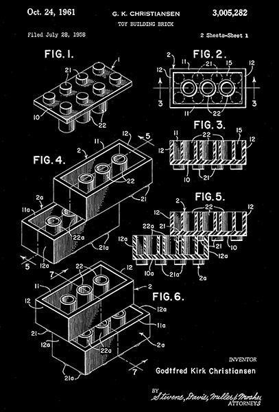 1961 - Lego - Toy Building Brick - G. K. Christiansen - Patent Art Poster - $9.99 - $64.99