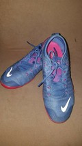 Women's Nike Flex Shoes Sneakers Size 6.5 Blue with Pink Accent - $18.71