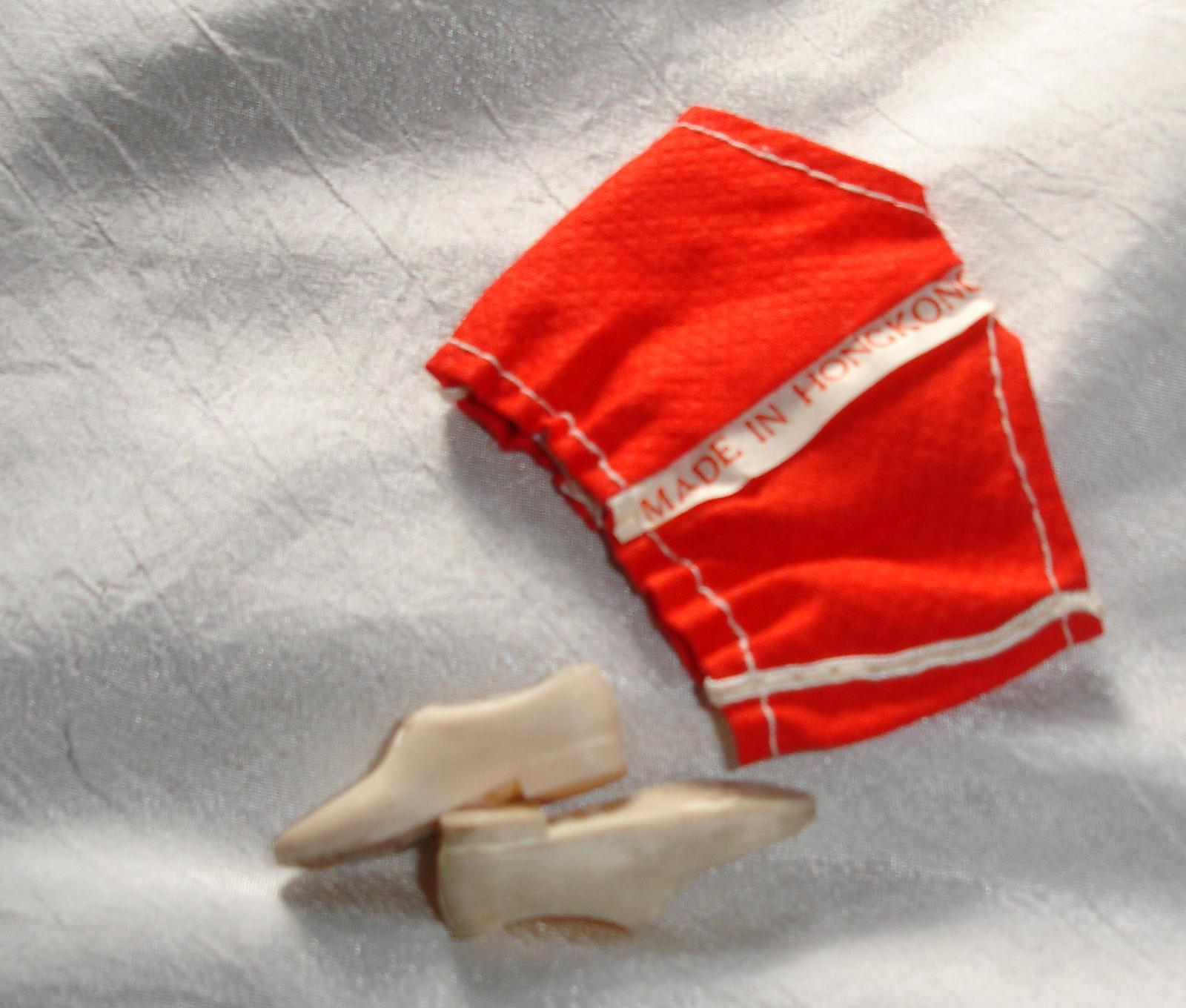 Primary image for doll clothes vintage Hong Kong red swimsuit w exterior label white shoes for Ken