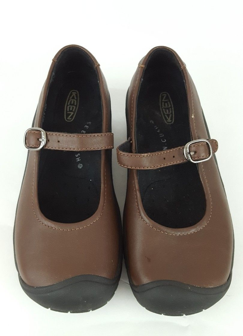 Keen Cush Mary Jane Wedge Shoes brown leather non-slip womens size 5.5