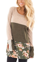 Oatmeal Color Block Floral Patchwork Long Sleeve Blouse Top  - $16.96