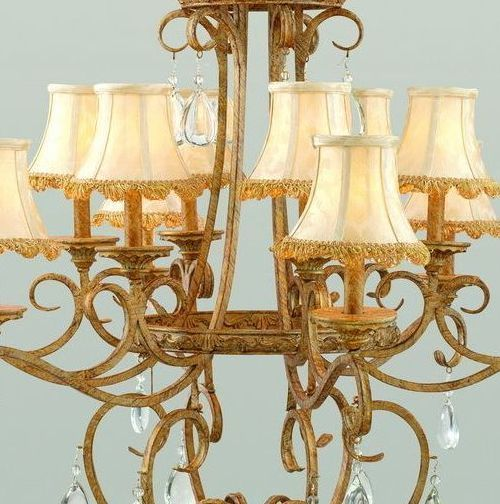 Antique Finish Chandelier Light Foyer Entrance Hall Dining Light Crystal Accents