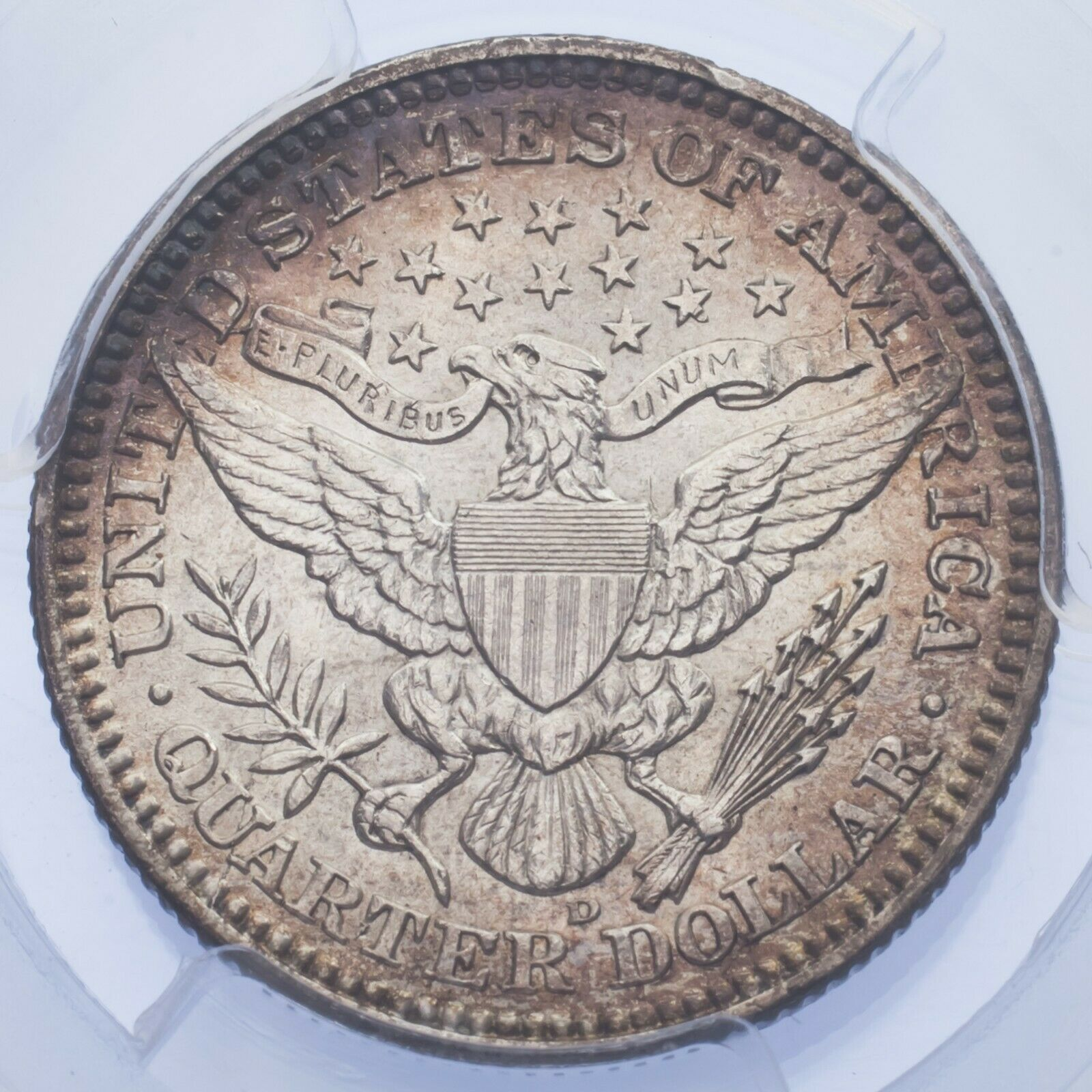1909-D 25C Barber Quarter Graded by PCGS as AU-58! Gorgeous Silver Coin! image 4