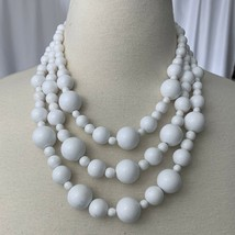 Vintage Monet White Beaded Multi Strand Necklace Signed Chunky - $19.75