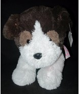 Walmart Hugfun Puppy Dog Plush Stuffed Animal Brown White Shaggy Heart Bow - $24.63