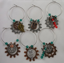 Handcrafted Steam Punk Wine Charms Gears Owls Dragonflies Martini Charms - $25.00