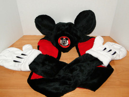 Disney Parks Mickey Mouse Snood Hat Cap & Gloves Attached image 1