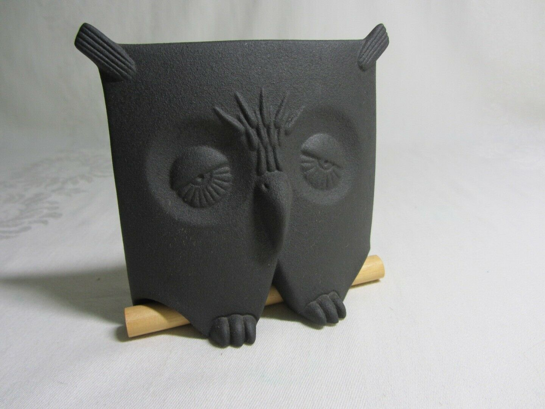 Vintage Owl on Perch Figurine Black Bisque Ceramic Square Artist Signed