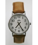 Timex Watch Mens Light Silver Stainless Brown Leather Water Resist White... - $23.86