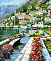 Oil painting Art impressionism Mediterranean sea landscape flowers house - $31.35