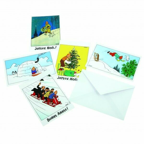 Set of 5 Tintin Christmas and New Year greeting cards (10x15cm) Sealed