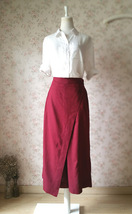 Women Wide Leg Linen Cotton Pants Long Wrap Pants Trousers Casual Pants Burgundy image 3