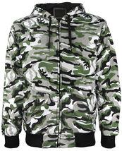 vkwear Men's Athletic Soft Sherpa Lined Slim Fit Camo Zip Hoodie Jacket image 3