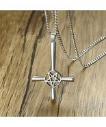 Inverted Cross Pentagram Star Pendant Necklace for Men Stainless Steel M... - $12.90