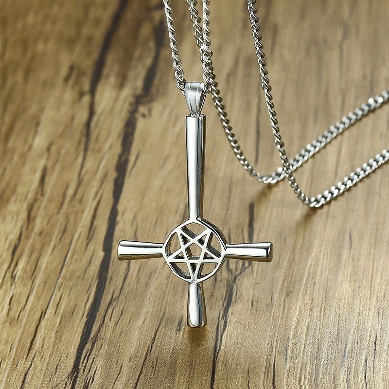 Cross pentagram star pendant necklace for men stainless steel lucifer satan male jewelry with 24
