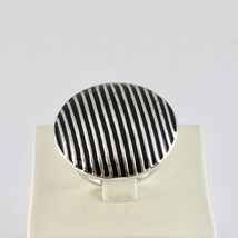 Ring Band Silver 925 Rhodium with Enamel Black Striped image 2