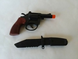 Lot of 2 Plastic Toys Cowboy Pistol and Plastic Military Knife Cops and ... - $11.87