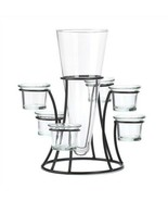 Circular Wrought Iron Candle Stand With Glass Vase - $15.34