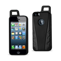 REIKO IPHONE SE/ 5S/ 5 DROPPROOF WORKOUT HYBRID CASE WITH HOOK IN BLACK - $9.14