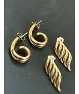 Estate Lot of Small Avon Signed Goldtone Twist J Hooks & Open Slit Swoos... - $13.99