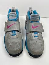 Nike Air Girls Diamond Turf II Athletic Shoes Gray 488294-064 Hook Loop 6.5 Y - $63.19