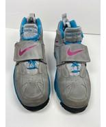 Nike Air Girls Diamond Turf II Athletic Shoes Gray 488294-064 Hook Loop ... - $63.19