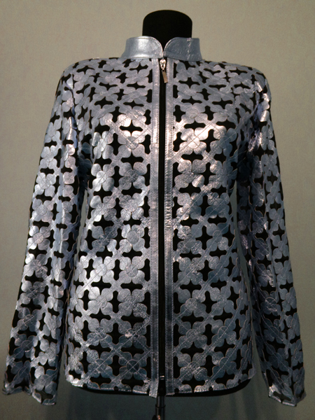 Silver gray leather leaf jacket women design 06 genuine short zip up light lightweight 1