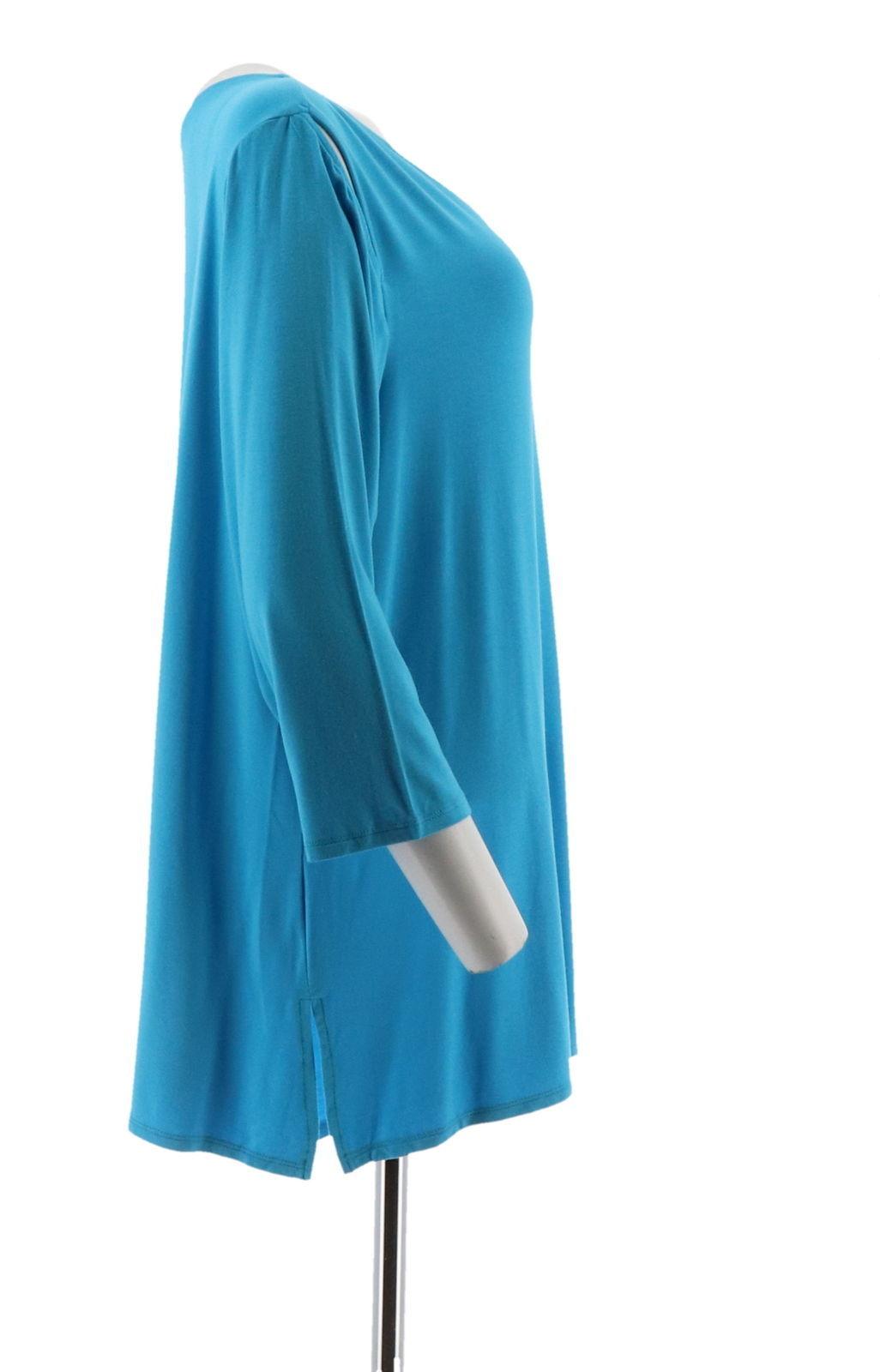 Belle Kim Gravel Knit Top Asymmetrical Hem Bright Ocean XS NEW A307422