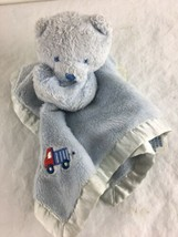 Gerber Teddy Bear Baby Security Blanket Lovey Fleece Baby Blue Satin Edg... - $14.89